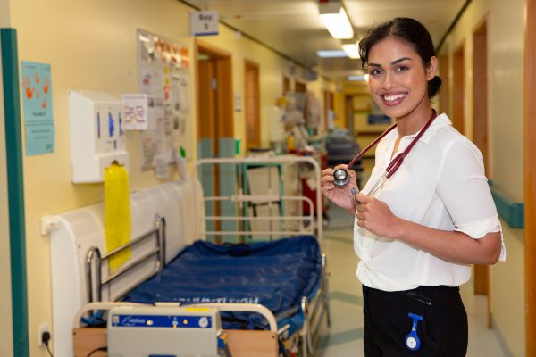 PIC FROM Terry Harris/Mercury Press - (PICTURED: Bhasha Mukherjee, 23,at Pilgrim Hospital, Boston PIC TAKEN : Tuesday 06 August 2019. ) - Dr England will see you now! These new photos show new Miss England Bhasha Mukherjee hard at work as a junior doctor -- a role she started just HOURS after winning the pageant's final. Boffin Bhasha Mukherjee, 23, gained two new titles in the space of 24 hours after winning the prestigious pageant in Newcastle late last Thursday -- before starting her role as an NHS junior doctor at Pilgrim Hospital in Boston, Lincs, the following morning.SEE MERCURY COPY